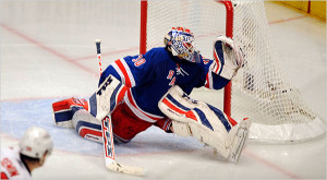 Ranger's Lundqvist reaches for a save. -Evan Vitale
